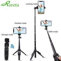 Roreta Portable Wireless Bluetooth Selfie Stick Handheld monopod Foldable Tripod With Bluetooth Remote Control USB Charging