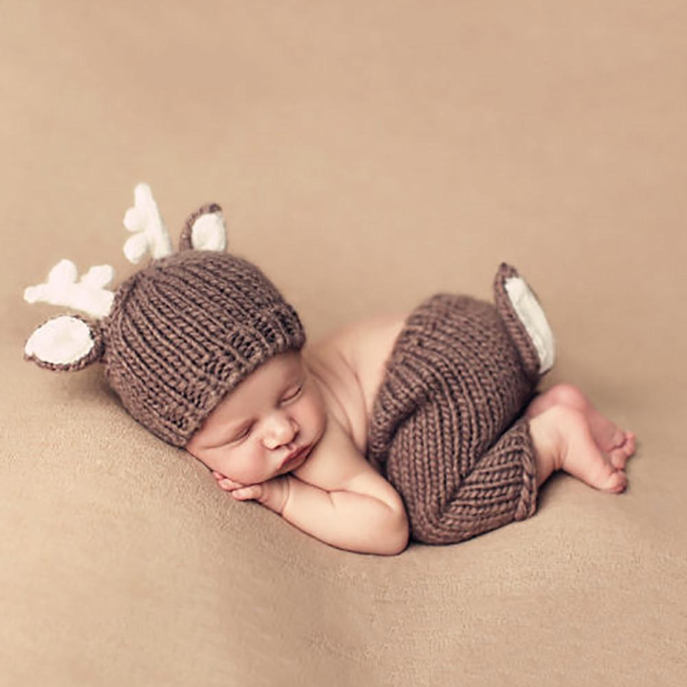 Newborn Photography Props Christmas Elk Costume Baby Photo Props Crochet Knit Deer Infant Beanie Hat+Pants Outfits For Boy Girls