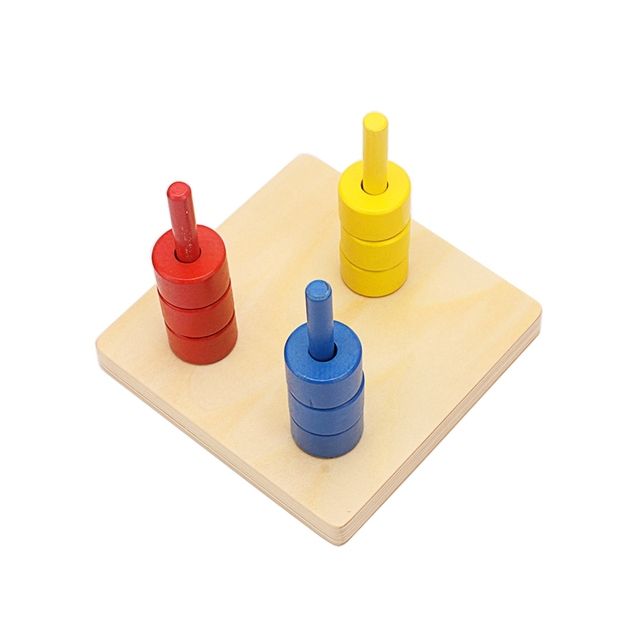 Infant Preschool Wooden Colorful Vertical Dowels Round Shapes Montessori Mathematics Training Toy Games