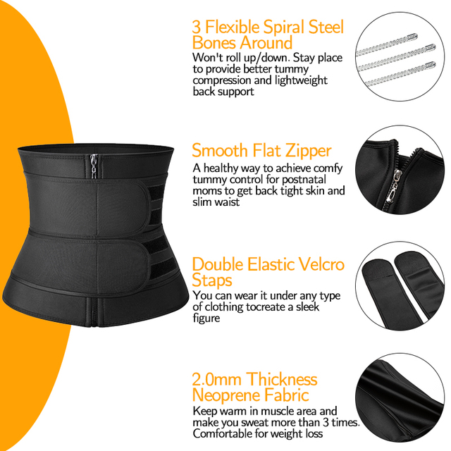 Waist Trainer Cincher Corset Weight Loss Neoprene Body Shaper Modeling Straps Workout Slimming Belt Sweat Trimmer Fajas Mujer 3