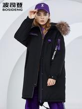 Bosideng żakiet prawdziwe futro żakiet kobiety średniej długości zimowy modny płaszcz B80142130