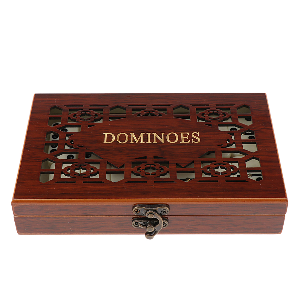 28pcs Domino Game Set Board Game Party Toy With Retro Wooden Box Holder