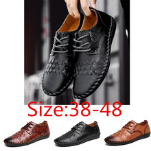 Мужская повседневная кожаная обувь ручной работы; дышащие мокасины из натуральной кожи на плоской подошве; мужские кроссовки; удобные деловые Мокасины