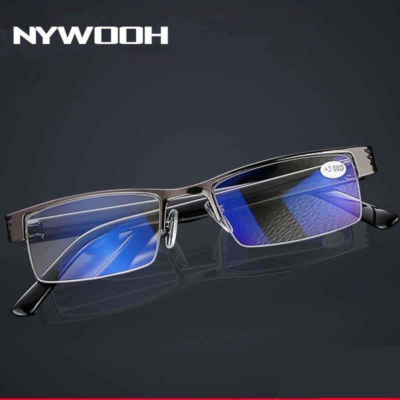 NYWOOH мужские очки для чтения с синей пленкой, смоляные очки по рецепту, диоптрий + 1,0 + 1,5 + 2,0 + 2,5 + 3,0 + 3,5 + 4,0