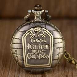 Ретро карманные часы Кошмар перед Рождеством Череп Скелет циферблат цепи ожерелье часы Джек Скеллингтон унисекс часы