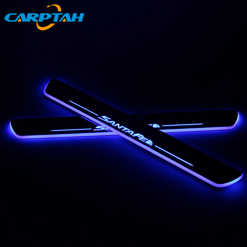 CARPTAH Trim Pedal Car Exterior Parts LED Door Sill Scuff Plate Pathway Dynamic Streamer light For Hyundai Santa Fe 2010 - 2018