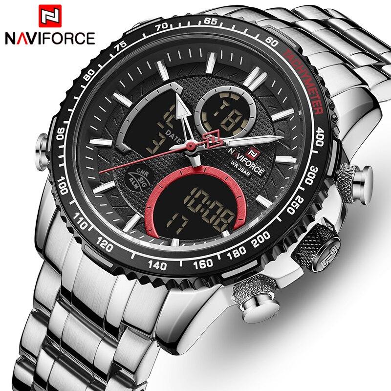 Watch Men NAVIFORCE Brand Stainless Steel Band Waterproof Quartz Wristwatch Big Sports Chronograph Clock Watches Date Male Reloj