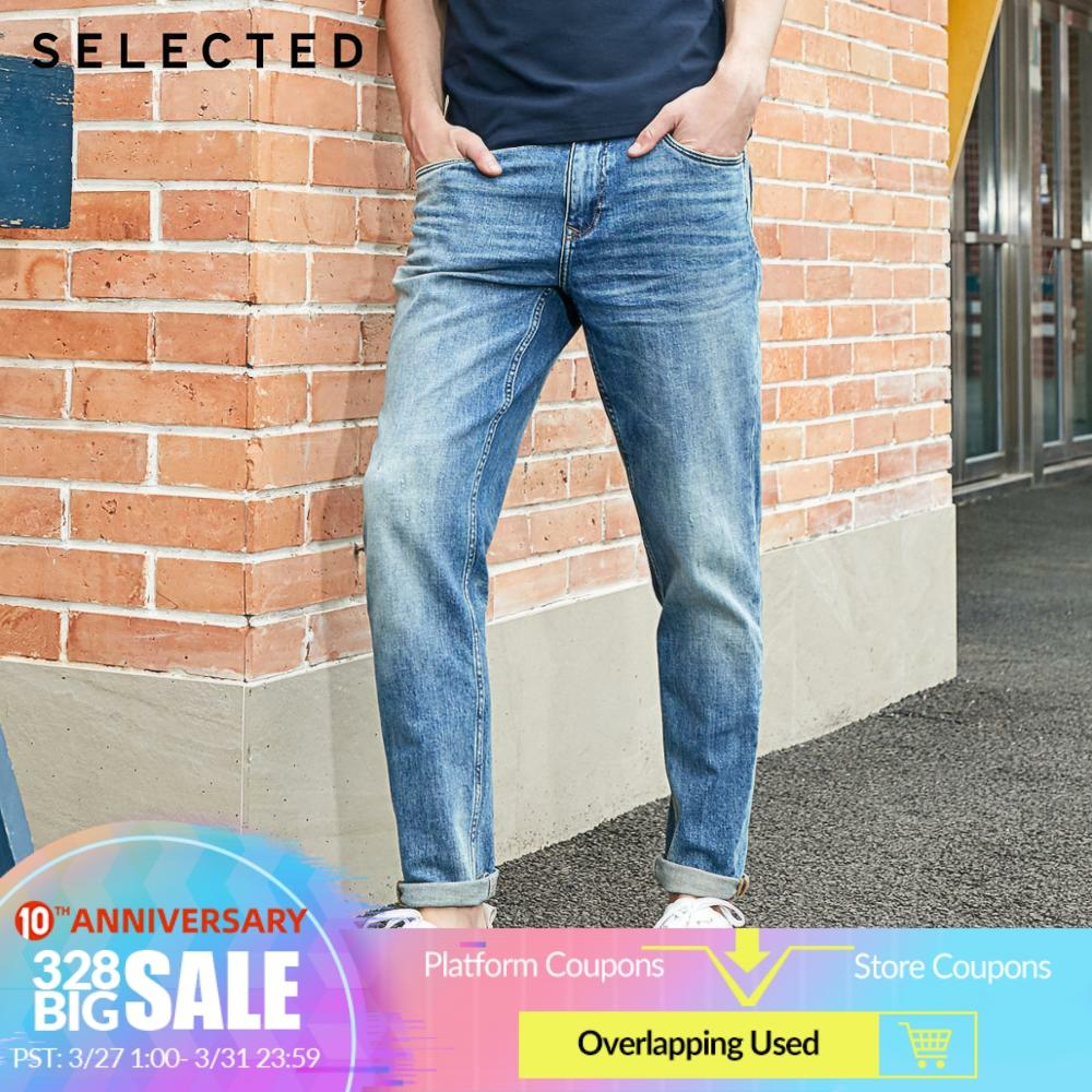 SELECTED Men's Stretch Cotton Denim Pants Washed Tapered Jeans R|420132532