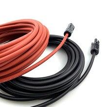 1 Paar Zonnepaneel Kabel Koperdraad Zwart En Rood Met Connector Solar Pv Kabel 6/4/2. 5 Mm2 10/12/14 Awg Gratis Verzending