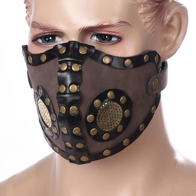 Women Men Vintage Gothic Steampunk Half Face PU Leather Biker Mask Cosplay