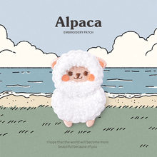 Alpaca Animal Patches for clothing Lovely White Plush Embroidered patch Cloth Fashionable Iron on Sticker Bag Jeans Decoration