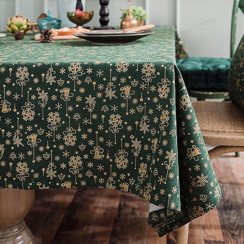 Yeni yıl masa örtüsü yeşil bronzlaşmaya noel desen masa örtüsü yastık kılıfı düğün dekorasyon ziyafet masa örtüsü tekstil