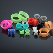 2 pcs/lot Thin Silicone Flexible Skin Ear Tunnel Plugs Double Flare Hollow Gauges Expanders Ear piercing Body jewelry zs 2 pcs lot colorful silicone ear plug tunels vintage ear gauges expanders fashion flesh piercing body jewelry for women men