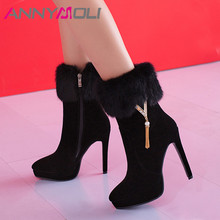 ANNYMOLI Winter Ankle Boots Women Real Fur Zipper Thin Heel Short Plush Extreme High Shoes Lady Big Size 33-43