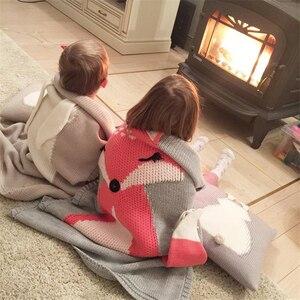 Image 4 - Воздушное одеяло, Вязаное детское одеяло в виде кролика, лисы, мультяшное животное, покрывала для дивана, коляски, детское постельное белье для новорожденных, пеленка