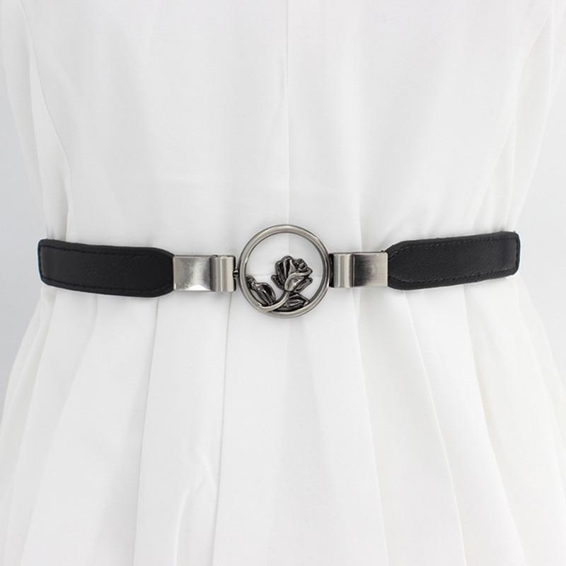 Women Belt Retro Concise All-match PU Leather High-elastic Flower Decoration Buckle Belt For Dress