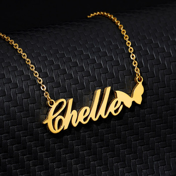 Nameplate Butterfly Choker Gold Pendent Custom Name Statement Necklace Women Ketting Collier Femme 2019  Personalized Jewelry custom name necklace for women men stainless steel gold chain necklace pendent personalized choker collier femme custom jewelry