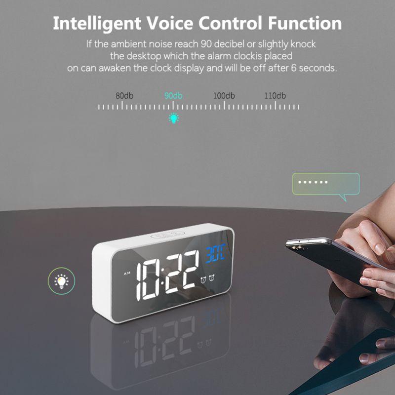 Réveil USB LED durables réveils numériques contrôle vocal Intelligent affichage de la température horloges électroniques décoration de la maison - 6