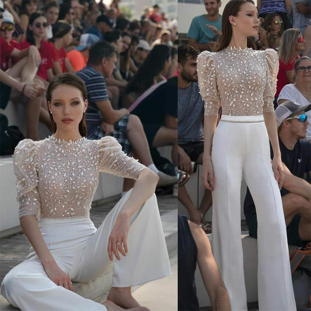 2020 Modern Illusion Top Prom Dresses Lace Appliqued Jewel Neck Women Pant Suits Evening Gowns Runway Fashion