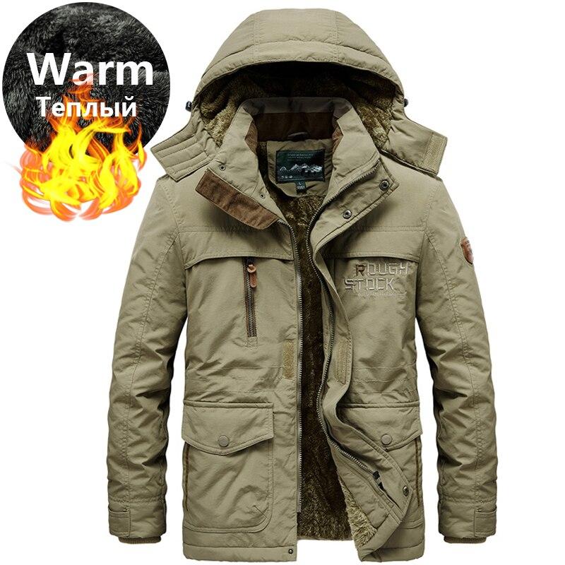 Мужская зимняя парка с капюшоном из плотного меха размера плюс 5XL 6XL, теплая флисовая хлопковая парка в стиле милитари, зимняя куртка, Мужская ветровка, пальто|Парки| | АлиЭкспресс