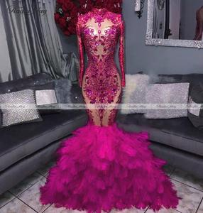 Hot Pink Long Sleeve Mermaid Feather Prom Dresses for Black Girls Plus Size Semi Formal Dress Women Long Graduation Party Gowns(China)