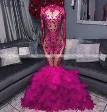 Hot Pink z długim rękawem Mermaid Feather suknie balowe dla czarnych dziewcząt Plus rozmiar pół formalne sukienki kobiety długie przyjęcie z okazji ukończenia szkoły suknie