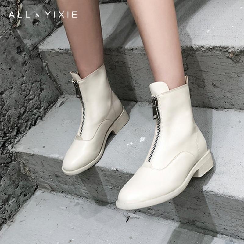 2019 hiver nouveau contracté marée fille femmes bottes mode blanc bottes Zipper Martin bottes angleterre bottes courtes épaisses femmes bottes