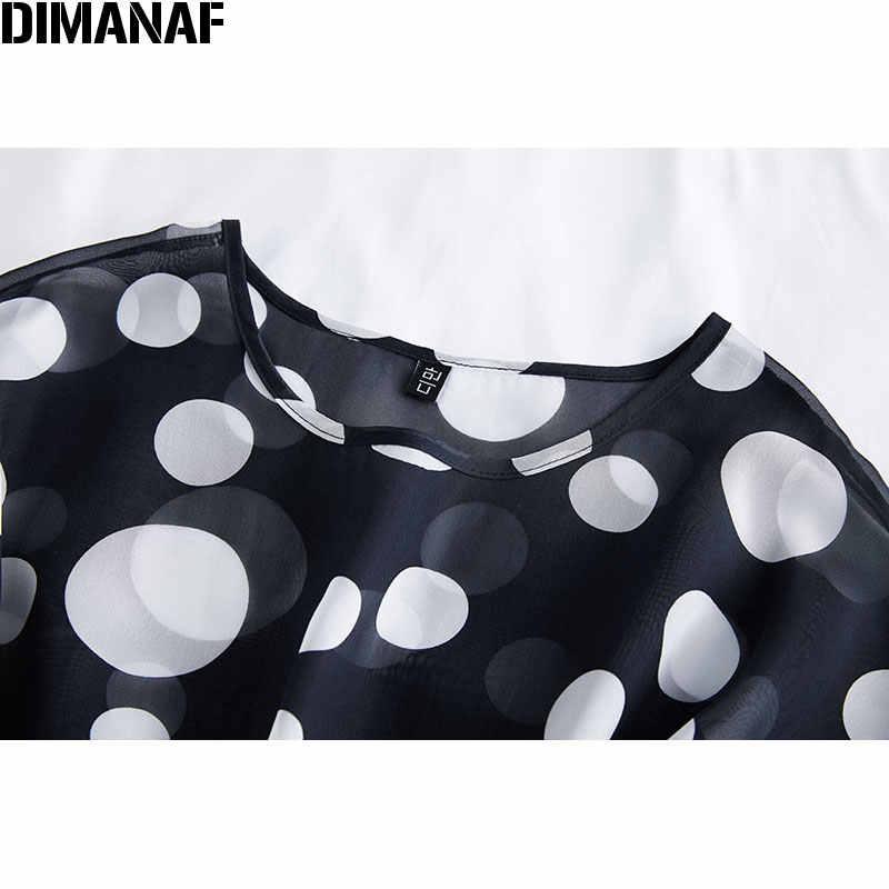 DIMANAF été grande taille femmes Blouse chemises montre de sport tunique en mousseline de soie décontracté imprimé à pois noir mince surdimensionné femme vêtements