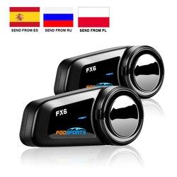 Fodsports 2 pcs FX6 Helmet Intercom Motorcycle Bluetooth Helmet Headset 6 Rider 1000m Moto Interphone Intercomunicador FM BT 5.0