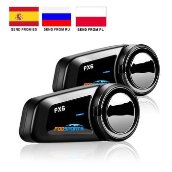 Fodsports-Intercomunicador Bluetooth para casco de motocicleta, auriculares para casco de motocicleta, 6...