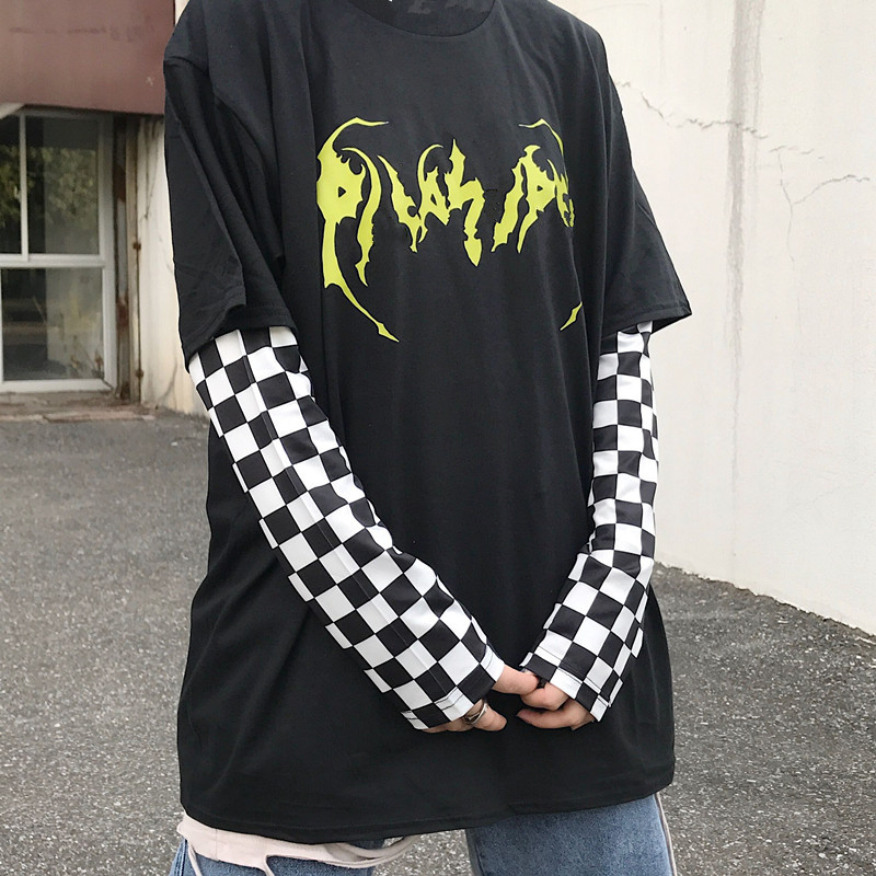 Lychee Harajuku Head Japanese Print Women T Shirt Patchwork Women T-shirt Black And White Checkerboard Plaid Lady T Shirts