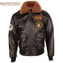 Casaco de couro masculino grosso 100% pele de bezerro acolchoado gola de pele natural vintage afligido jaqueta de couro masculino casaco de inverno quente m253