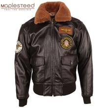 Chaqueta de cuero para hombre, 100% gruesa, piel de becerro, acolchada, con cuello de piel Natural, chaqueta de cuero desgastado Vintage, abrigo cálido para invierno, M253
