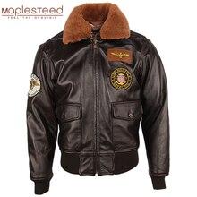 Hommes veste en cuir épais 100% veau matelassé naturel col de fourrure Vintage en détresse en cuir veste hommes chaud hiver manteau M253