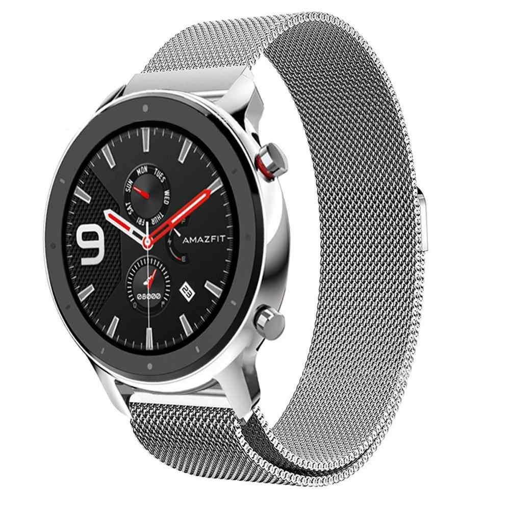 Bracelet de montre en acier inoxydable milanais remplacement Bracelet de Sport Bracelet en acier maille Bracelet pour Amazfit GTR 42mm 47mm Bracelet en métal