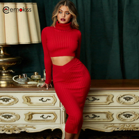 Ceremokiss 2 Piece Set Women Club Outfits Off Shoulder Knit Skirt Set Long Sleeve Sexy Two Piece Set Autumn Bodycon Party Dress