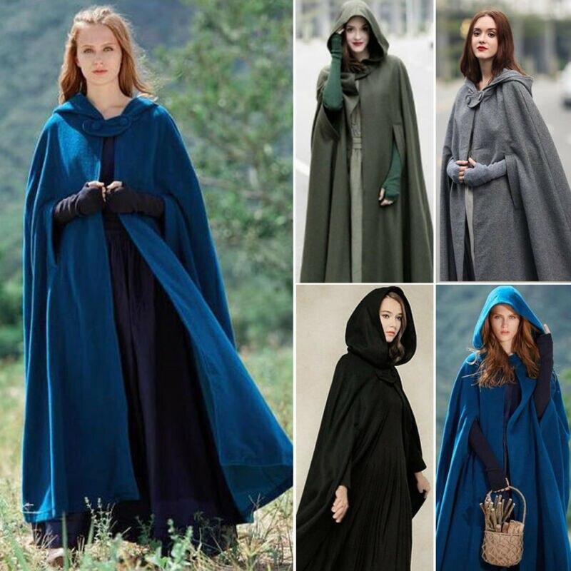 Осенне зимний женский плащ с пуговицами, дизайнерский женский винтажный плотный однотонный плащ с капюшоном длиной до пола, средневековый длинный плащ| |   | АлиЭкспресс