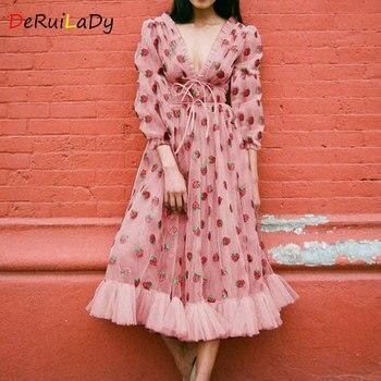 DeRuiLaDy Summer Strawberry Dress Sexy Deep V-neck Net Yarn See-Through Long Sleeve Bandage Dresses Women Vestidos Mujer