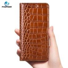 Krokodyl oryginalne skórzane etui do Huawei P10 P20 P30 Pro P30 P40 Lite Pro Plus biznes klapki etui na telefony komórkowe