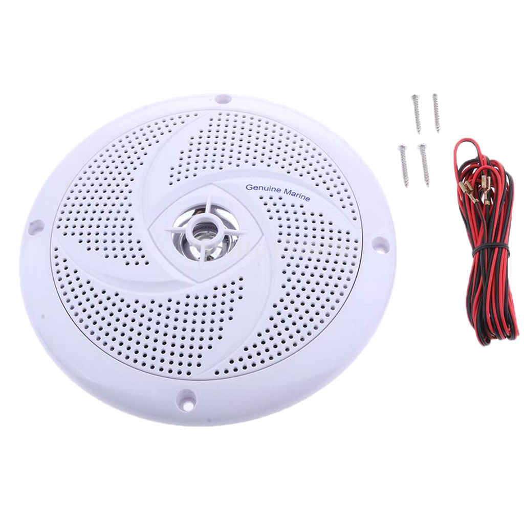 6.5 Inch Marine Stereo Boat Speakers Amplified Full Range Stereo Sound Weather Resistant Flush Mount With 60W Power - White