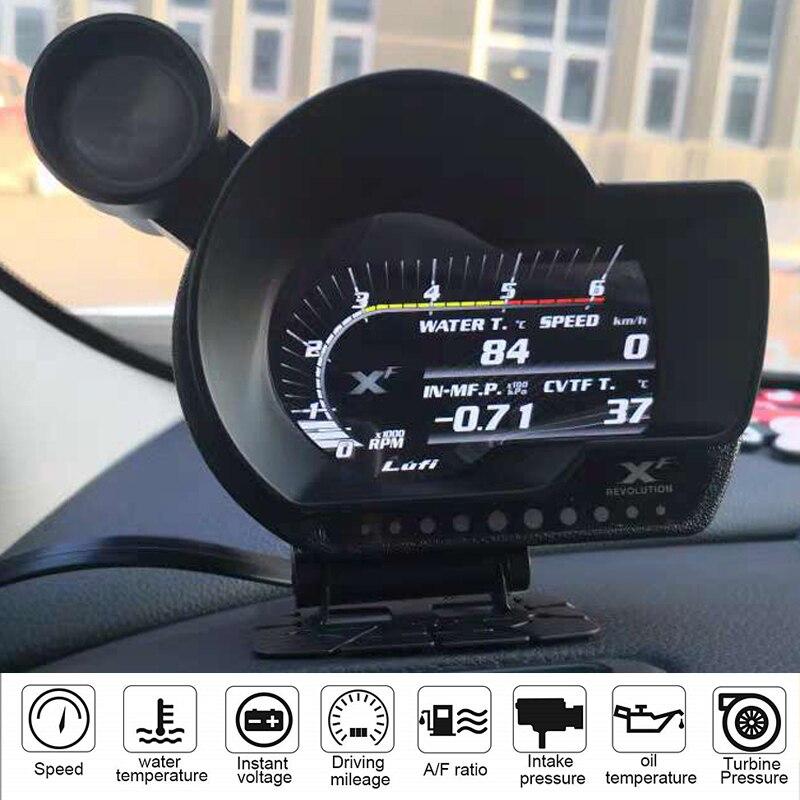 Medidor de temperatura LUFI XF OBD2 digital turbo boost presión de aceite agua para coche RPM relación aire combustible nivel de combustible velocidad EXT medidor de aceite Dragon gauge 52mm, carcasa negra con retroiluminación azul, Auto Turbo, medidor de presión Turbin de vacío, medidor de impulso, medidor de presión