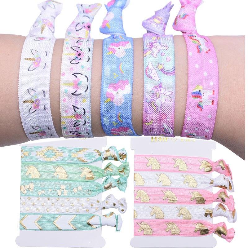 5pcs Unicorn Theme Party Decorat Colorful Hair Ties Bracelet Baby Shower Birthday Favors Ornaments Girls' Unicorn Cloth Hairband