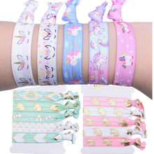 5 pçs unicórnio tema festa decorat colorido laços de cabelo pulseira chá de fraldas aniversário favores ornamentos para meninas unicórnio pano hairband