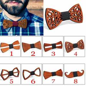 Wooden Bow Tie For Men Unisex Hollow Out Carved Retro Wooden Neck Adjustable Strap Vintage