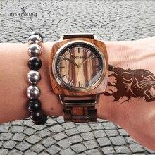 Watch Men BOBO BIRD Wood Wristwatch Zebra Pattern Dial Simpl