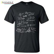 White T Shirt Math Formulas Science Shirt Men 2019 Summer 100% Cotton T-Shirt Man O-neck Slim Fit T-shirt Fashion Men's Tops Tee цена