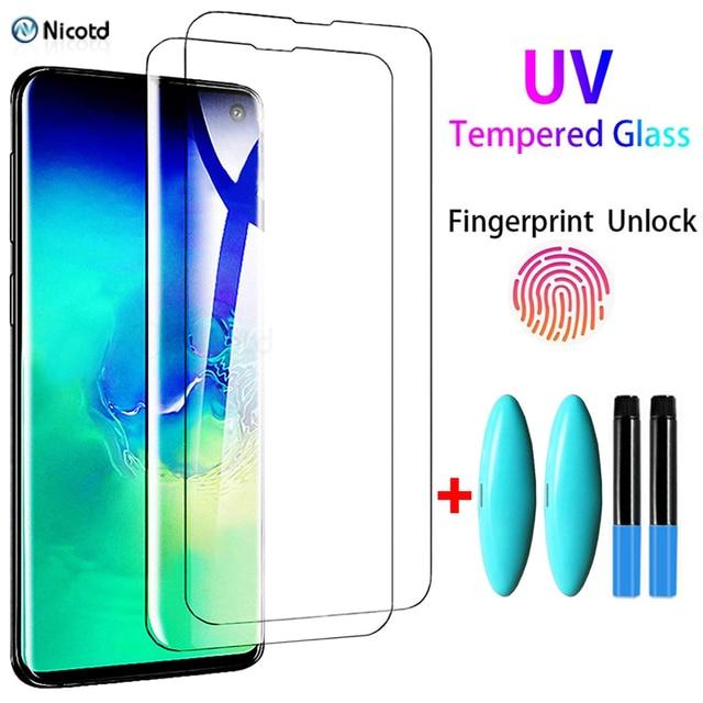 2 قطعة الأشعة فوق البنفسجية الزجاج المقسى لسامسونج غالاكسي S20 S21 زائد جدا S10 S9 S8 زائد S7 حافة غالاكسي ملاحظة 20 جدا 10 9 8 كامل لصقها الزجاج