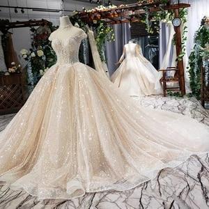 Image 3 - HTL639 brilhantes vestidos de casamento com brilho de alta pescoço cap luva de cristal vestidos de casamento do laço com trem vestidos de novia vindima