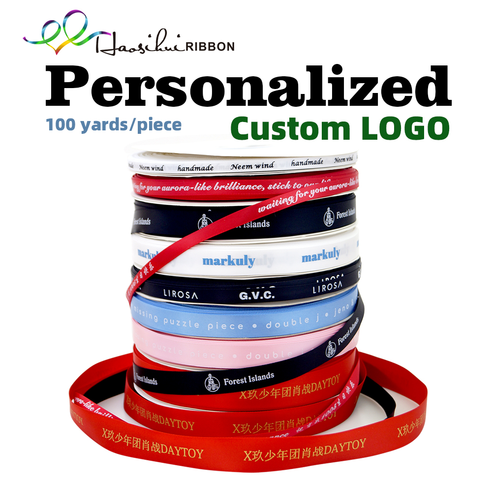 HAOSIHUI 6mm-100mm Custom Printed Flat Ribbon Personalized Logo Polyester Ribbon Wedding Birthday Satin Ribbons 100 yard /lot