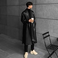 Men Vintage Long Black Leather Trench Jacket Double Breasted Overcoat Male Streetwear Hip Hop Punk Faux Fur Windbreaker Coat